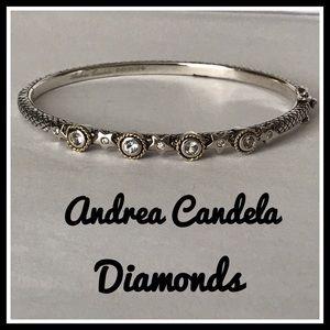 18k & 925 Diamonds & Sapphire Bangle Bracelet